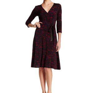 Leota Dress Faux Wrap 3/4 Sleeve Black Red Size M